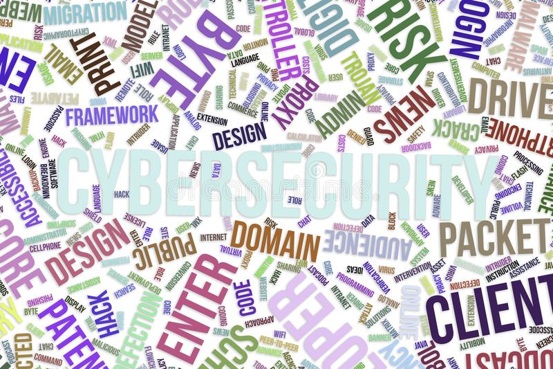 Cybersecurity, conceptual word cloud for business, information technology or IT. stock illustration