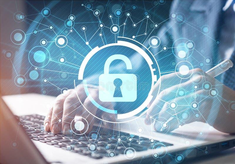 Cybersecurity de Digitaces y protecci?n de la red ilustración del vector