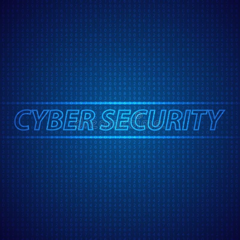 Cybersecurity de réseau sur un fond numérique illustration stock