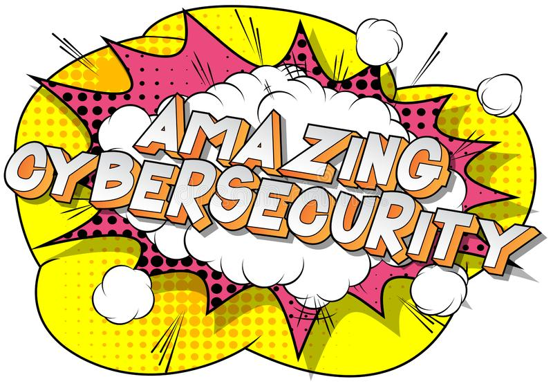 Cybersecurity di stupore - parole di stile del libro di fumetti royalty illustrazione gratis