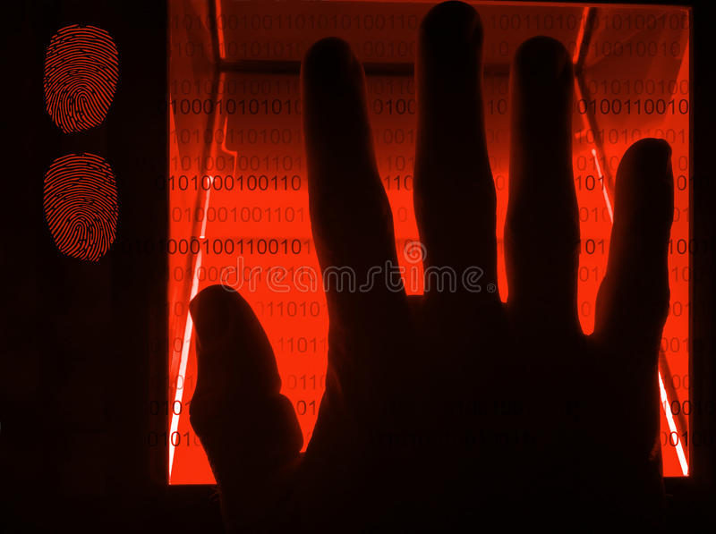 Cybersecurity digital fingerprint scanning. Red cybersecurity digital fingerprint scanning on a green screen stock image