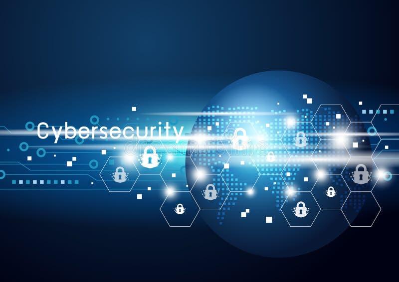 Cybersecurity e ilustração do vetor da rede global ilustração stock