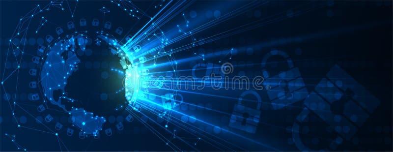 Cybersecurity e proteção da informação ou da rede Os serviços de Web futuros da tecnologia para o negócio e o Internet projetam-s ilustração royalty free