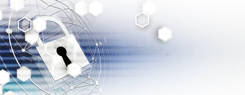 Cybersecurity e proteção da informação ou da rede Tecnologia futura ilustração stock