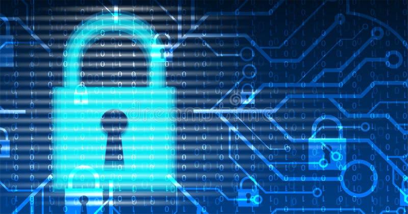 Cybersecurity e prote??o da informa??o ou da rede Os servi?os de Web futuros da tecnologia para o neg?cio e o Internet projetam-s ilustração do vetor
