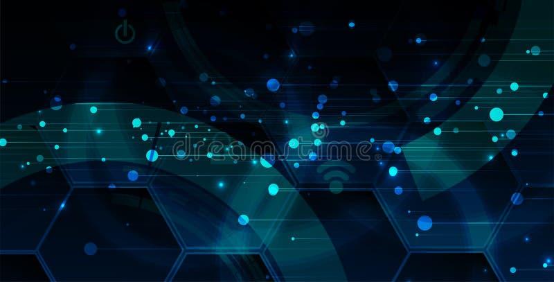 Cybersecurity en informatie of netwerkbescherming De toekomstige diensten van het technologieweb voor zaken en Internet-project stock illustratie
