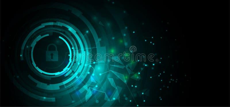Cybersecurity en informatie of netwerkbescherming De toekomstige diensten van het technologieweb voor zaken en Internet-project vector illustratie
