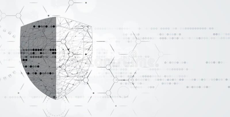 Cybersecurity en informatie of netwerkbescherming Toekomstige technologie vector illustratie