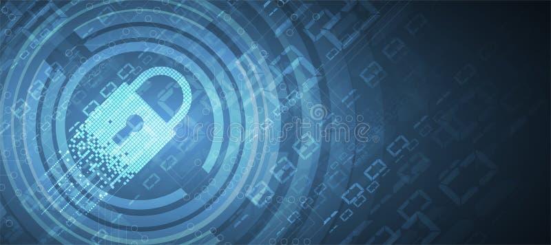 Cybersecurity en informatie of netwerkbescherming Toekomstige technologie royalty-vrije illustratie
