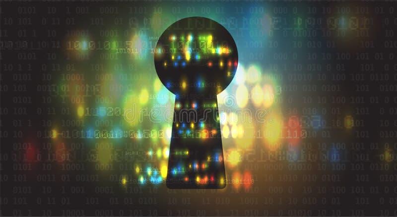 Cybersecurity en informatie of netwerkbescherming Toekomstige technologie stock illustratie