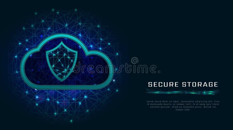 Cybersecurity en informatie of van de netwerkbescherming concept De toekomstige diensten van het technologieweb voor zaken en Int stock illustratie