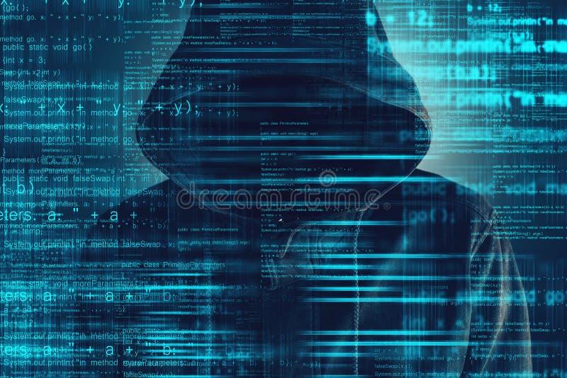 Cybersecurity, hacker de computador com hoodie imagem de stock royalty free