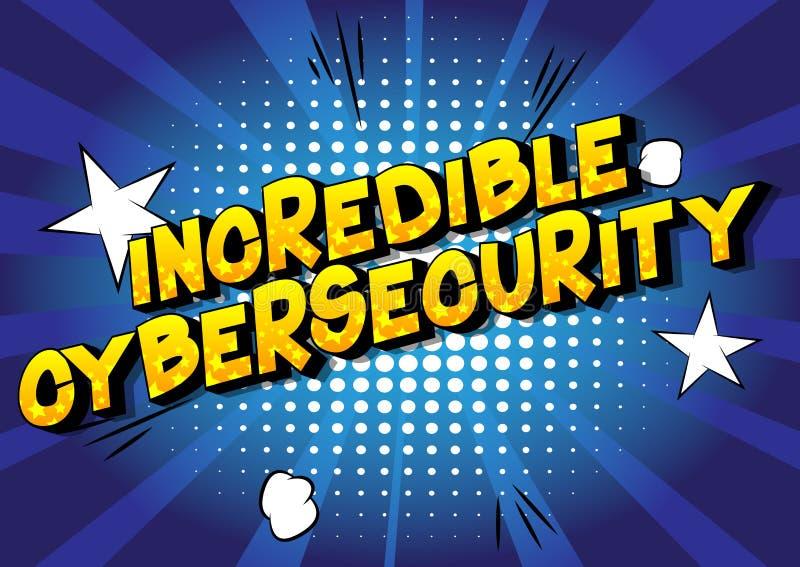 Cybersecurity incroyable - mots de style de bande dessinée illustration stock