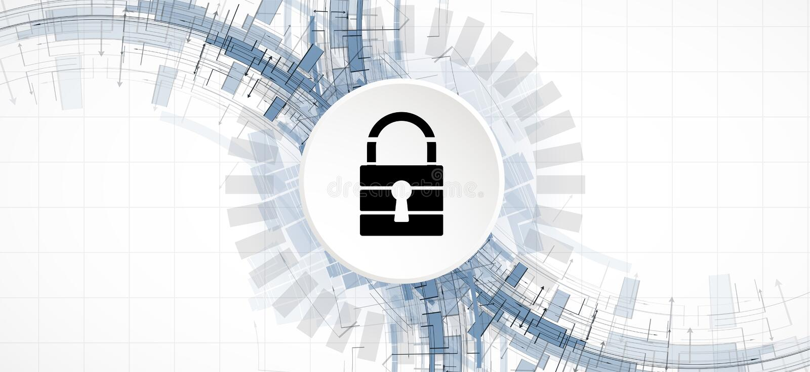 Cybersecurity and information or network protection. Future tech. Cybersecurity and information or network protection. Future cyber technology web services for vector illustration