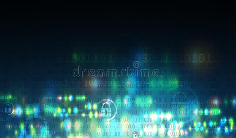Cybersecurity and information or network protection. Future tech royalty free illustration
