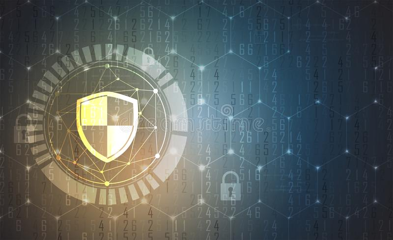 Cybersecurity and information or network protection. Future tech stock illustration