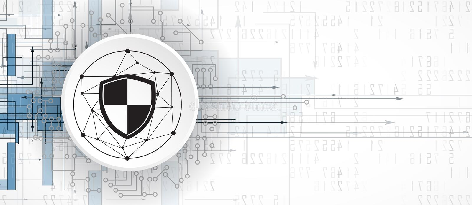Cybersecurity and information or network protection. Future tech vector illustration