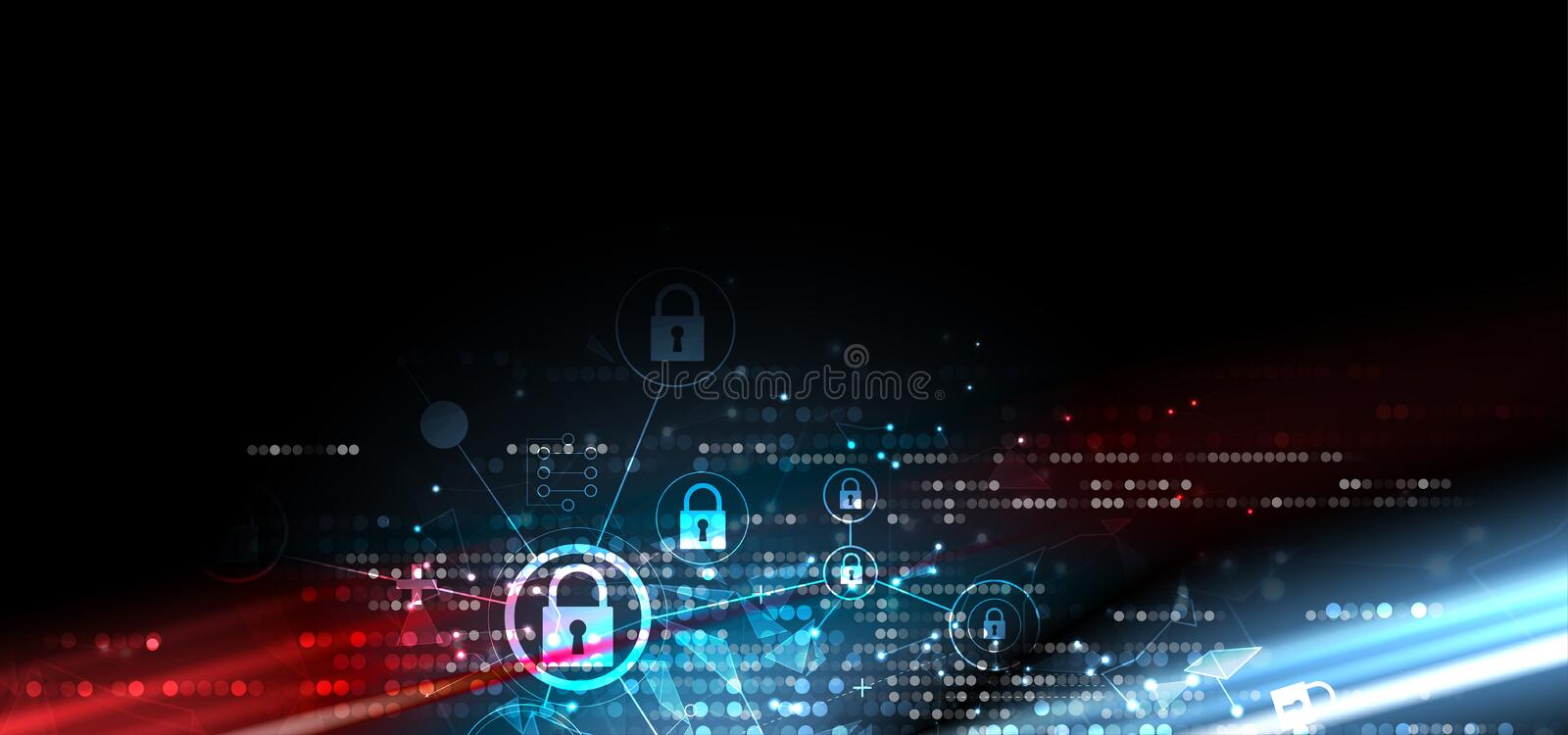 Cybersecurity and information or network protection. Future technology web services for business and internet project. Cybersecurity and information or network royalty free illustration