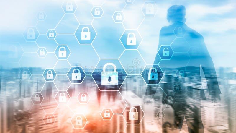 Cybersecurity, informationsavskildhet, dataskydd, virus och spywareförsvar royaltyfri illustrationer