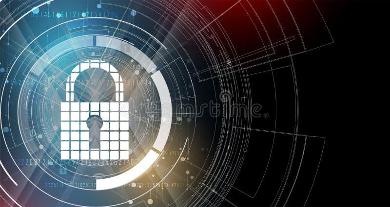 Cybersecurity och informations- eller nätverksskydd framtida tech stock illustrationer
