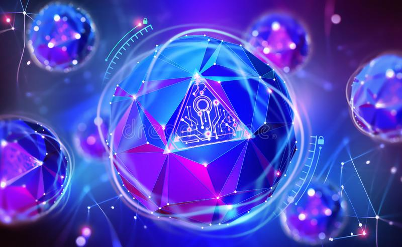 Cybersecurity online. Concept of global network protection. 3D illustration of a futuristic digital lock. Neon light and a ball of desires from polygonal stock illustration