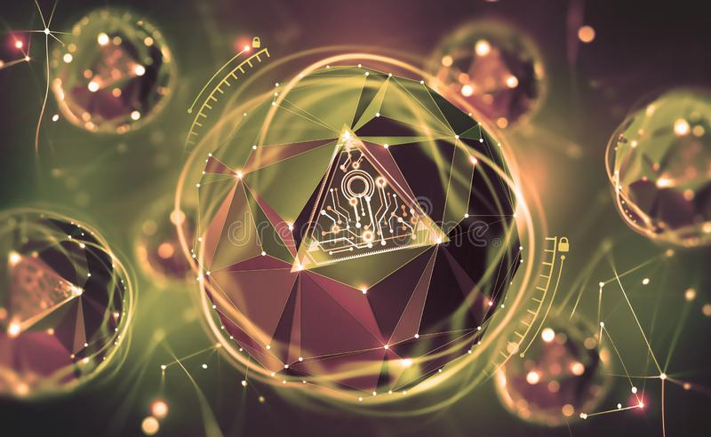 Cybersecurity online. Concept of global network protection. 3D illustration of a futuristic digital lock. Neon light and a ball of desires from polygonal stock images