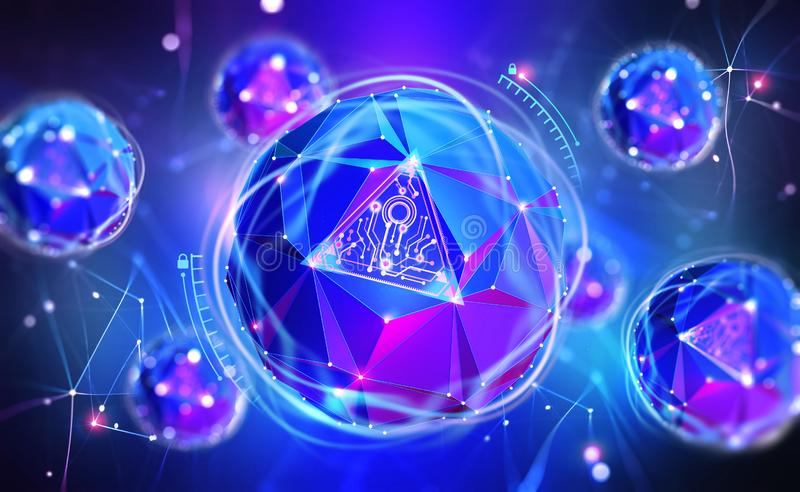 Cybersecurity online. Concept of global network protection. 3D illustration of a futuristic digital lock. Neon light and a ball of desires from polygonal vector illustration