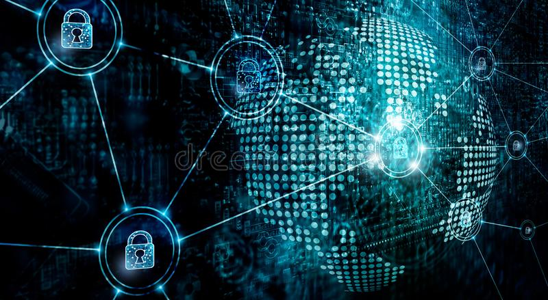 Cybersecurity op mondiaal net, informatietechnologie de veiligheidsdiensten op Internet royalty-vrije stock afbeeldingen