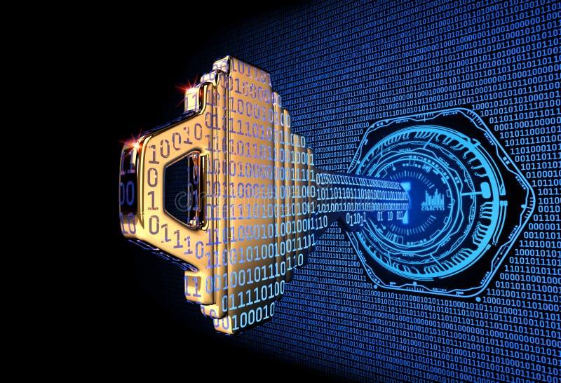 Cybersecurity pojęcie: 3d odpłacał się ilustrację binarnego kodu klucz zdjęcia royalty free