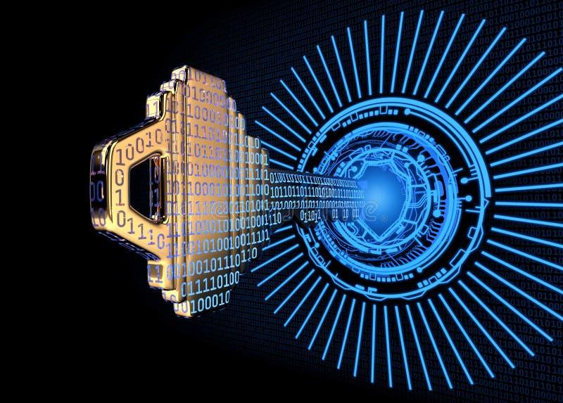 Cybersecurity pojęcie: 3d odpłacał się ilustrację binarnego kodu klucz obraz royalty free