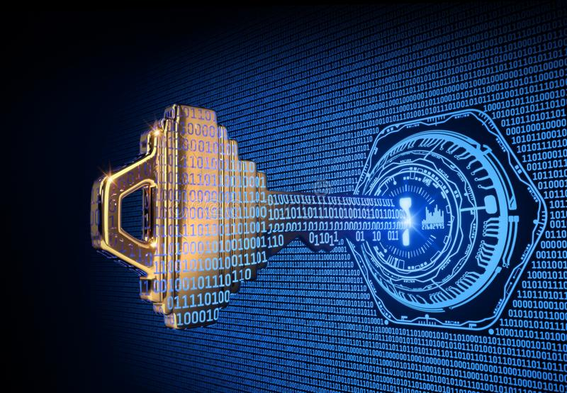 Cybersecurity pojęcie: 3d odpłacał się ilustrację binarnego kodu klucz obrazy stock
