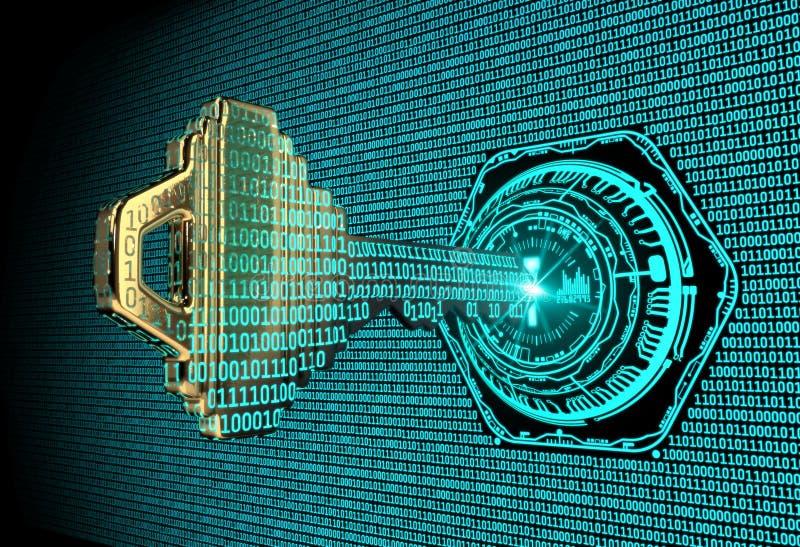 Cybersecurity pojęcie: 3d odpłacał się ilustrację binarnego kodu klucz fotografia royalty free