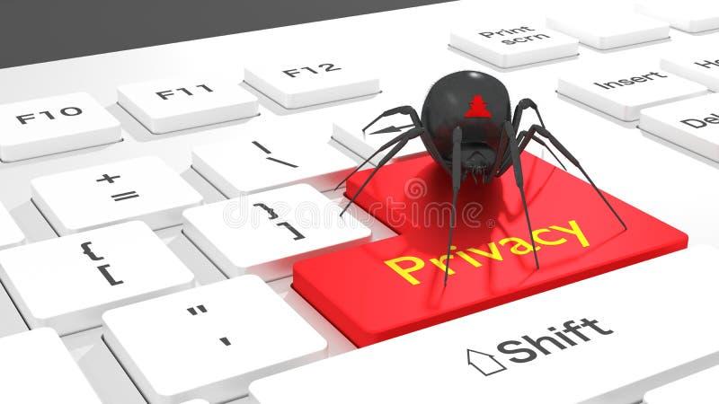 Cybersecurity-Privatleben-Konzeptspinne auf weißer Tastatur vektor abbildung