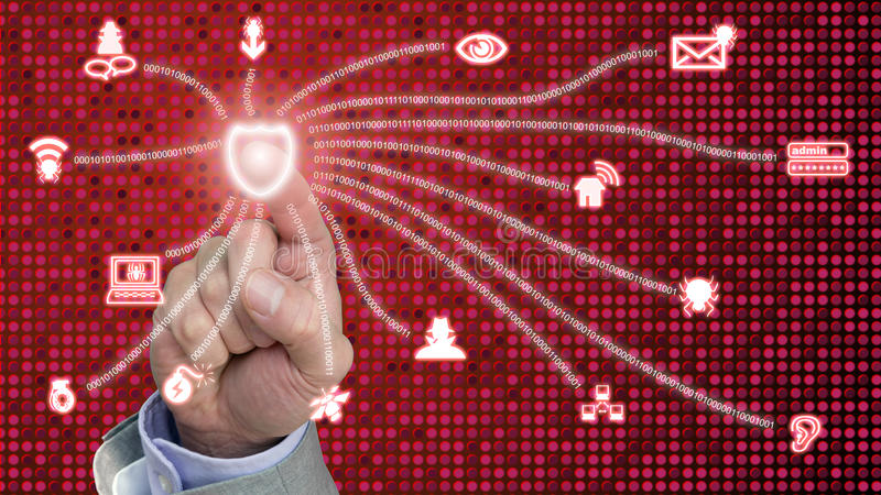 Cybersecurity shield activation. Hand presses a red glowing shield connected to common internet security threats on dotted background royalty free stock images