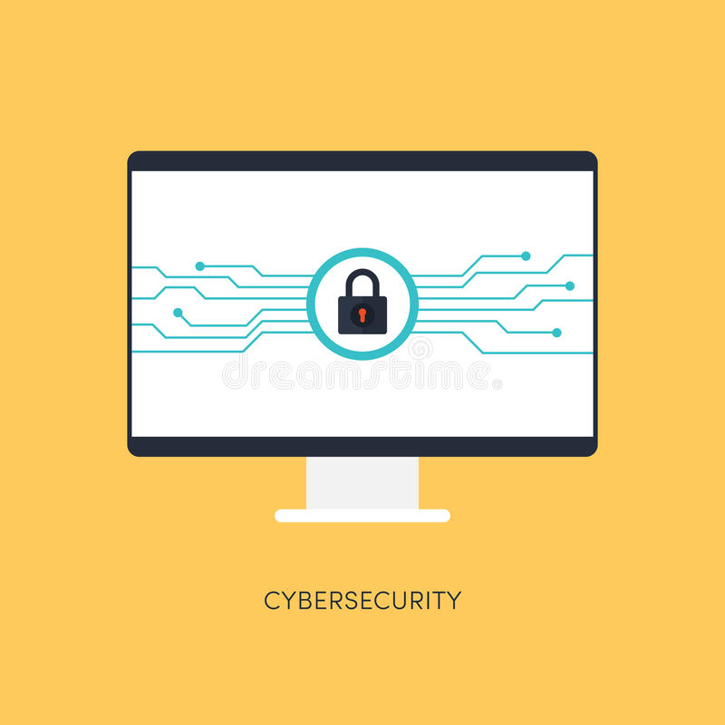 Cybersecurity system, Internet protection concept. Vector illustration stock illustration