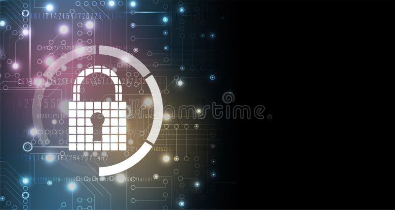 Cybersecurity und Informations- oder Netzschutz Zukünftige Technologie stock abbildung