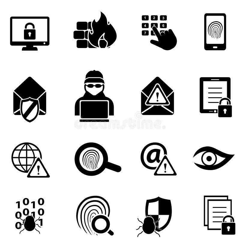 Cybersecurity, vírus e ícones da segurança informática ilustração stock