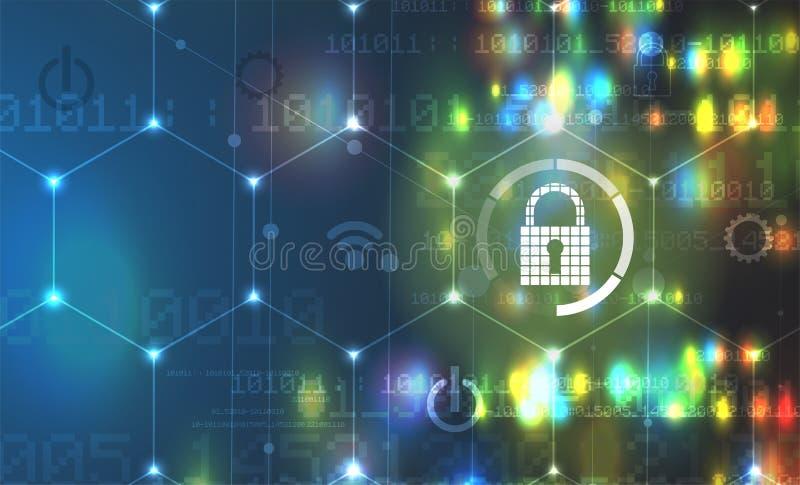 Cybersecurity y protección de la información o de la red Tecnología futura ilustración del vector