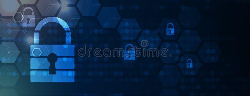 Cybersecurity y protección de la información o de la red Los servicios web futuros de la tecnología para el negocio y Internet pr stock de ilustración