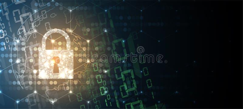 Cybersecurity y protección de la información o de la red Tecnología futura stock de ilustración