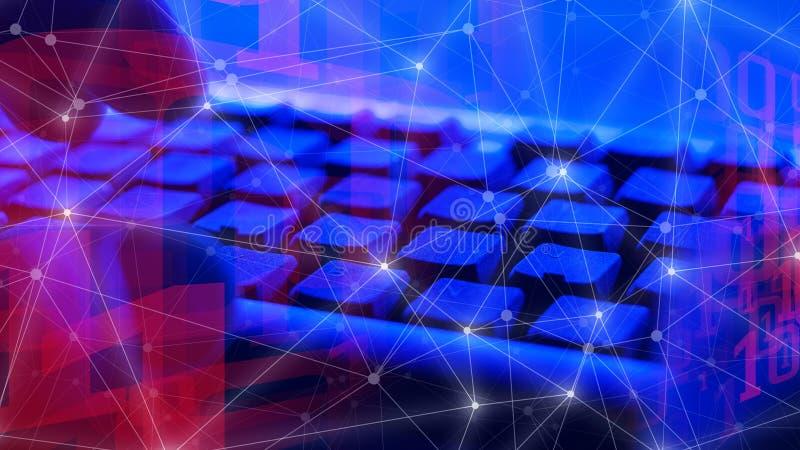 Cybersecuritybedreigingen, computerprogrammeur, de digitale transformatie van Internet, toekomstig concept stock afbeeldingen