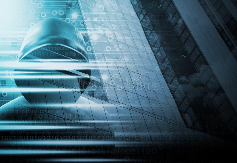 Cybersecurityconcept Hakker en technologieontwerp royalty-vrije illustratie