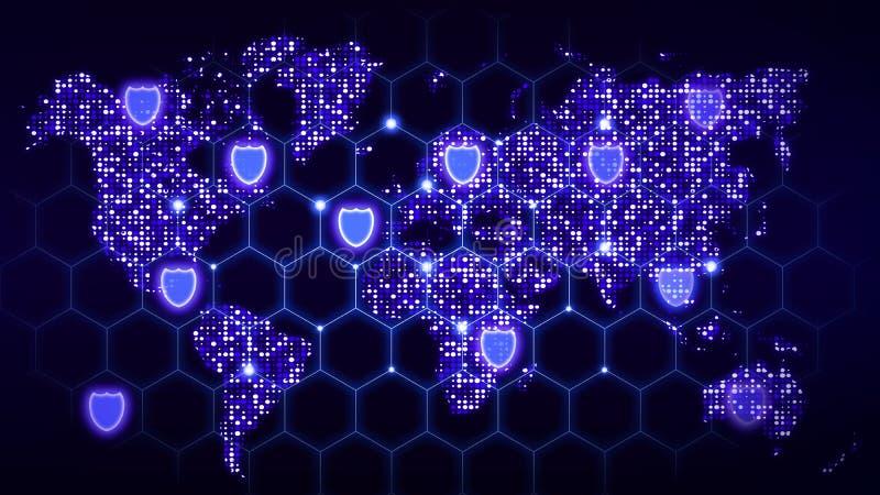 Cybersedurity nätverk som täcker världskartan med glödande data c vektor illustrationer