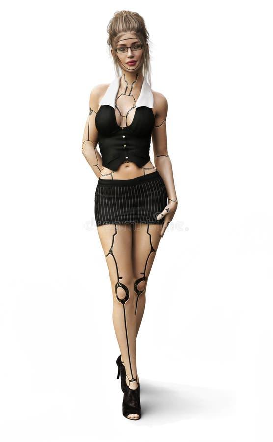 Cybersekretär Die Zukunft des Geschäfts ist hier mit einem sexy weiblichen androiden Sekretärassistenzkonzept vektor abbildung