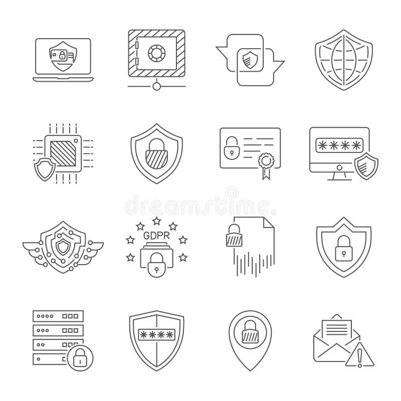 Cyberskydd och uppsättning för internetsäkerhetssymboler Skydda i digital teknologi Högkvalitativa symboler för bruk i rengörings vektor illustrationer