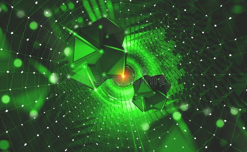 cyberspace Цифровые технологии будущего Цепи блоков информации Портал с элементами HUD иллюстрация штока