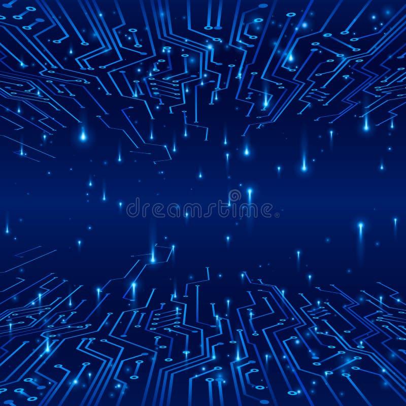 cyberspace Концепция футуристической предпосылки Следы на цепи и обмене данными в форме сигналов также вектор иллюстрации притяжк иллюстрация вектора