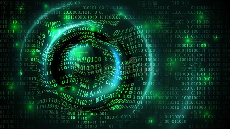 Cyberspace abstrato da matriz da disposição de dados com dígitos, fundo futurista com código binário e ondas da circular, guarda- ilustração stock