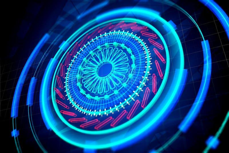 Cyberspace, biometrie en netwerkconcept vector illustratie