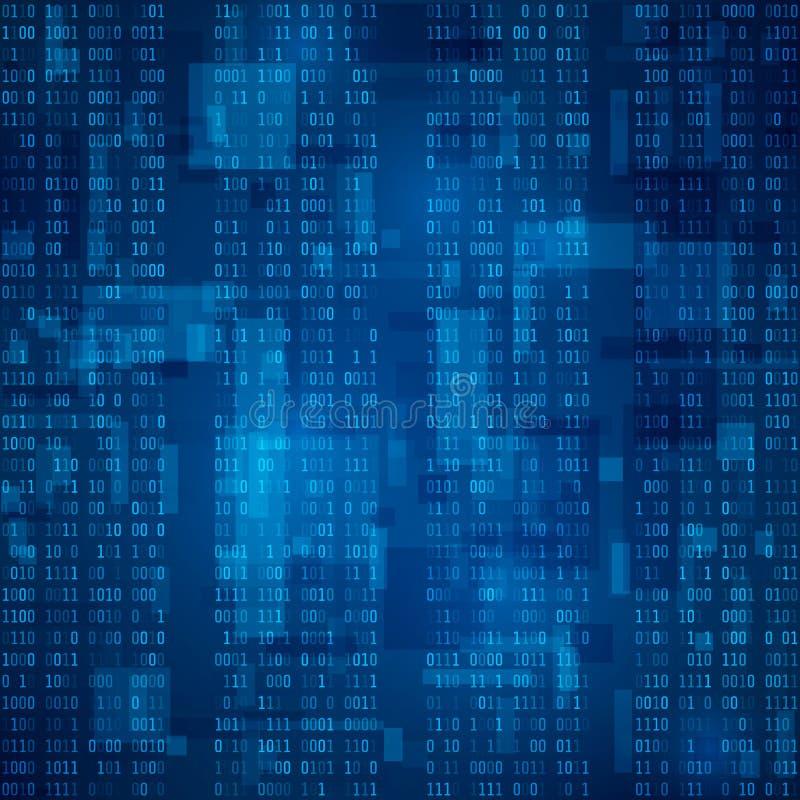 cyberspace Córrego do código binário azul Fundo futurista Visualização e processamento dos dados no formato binário Vetor ilustração stock